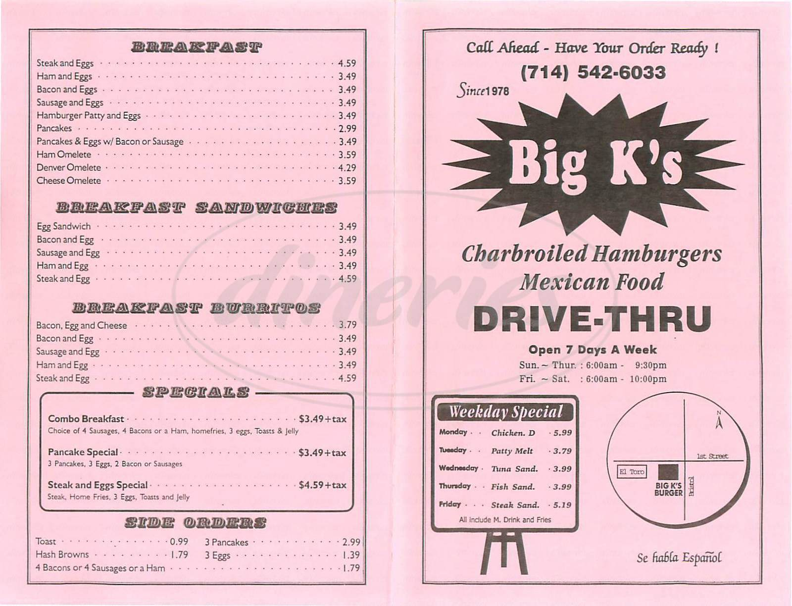 menu for Big Ks Drive-Thru