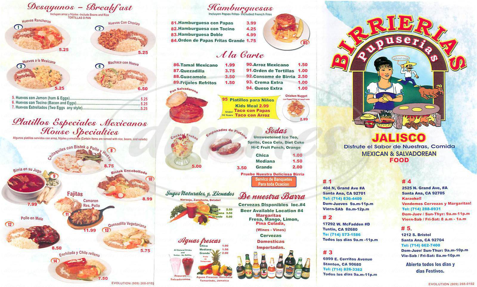 menu for Birrierias Jalisco