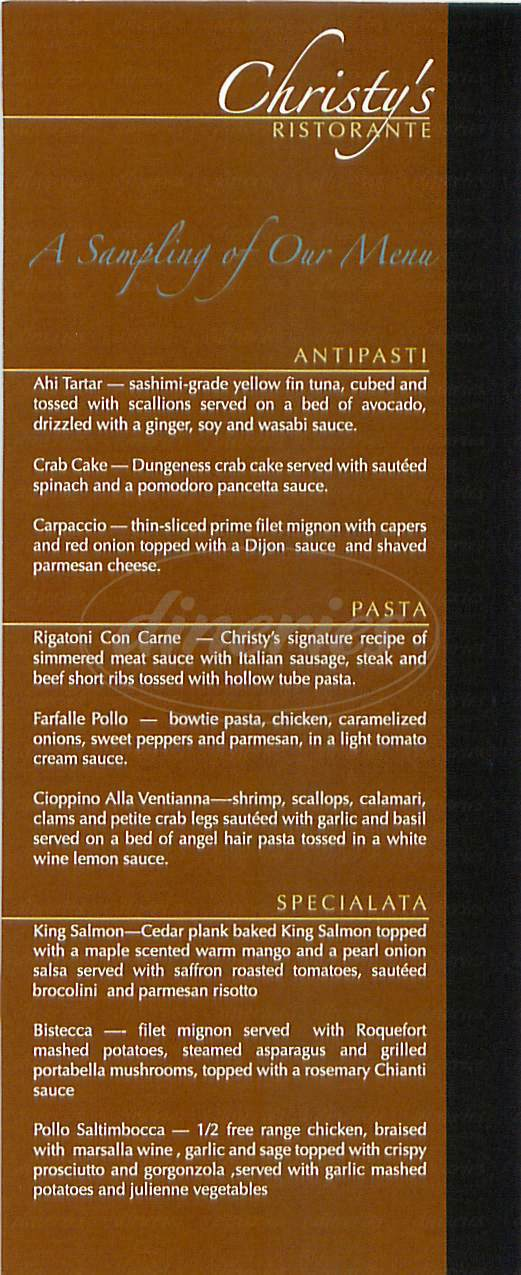 menu for Christy's Ristorante