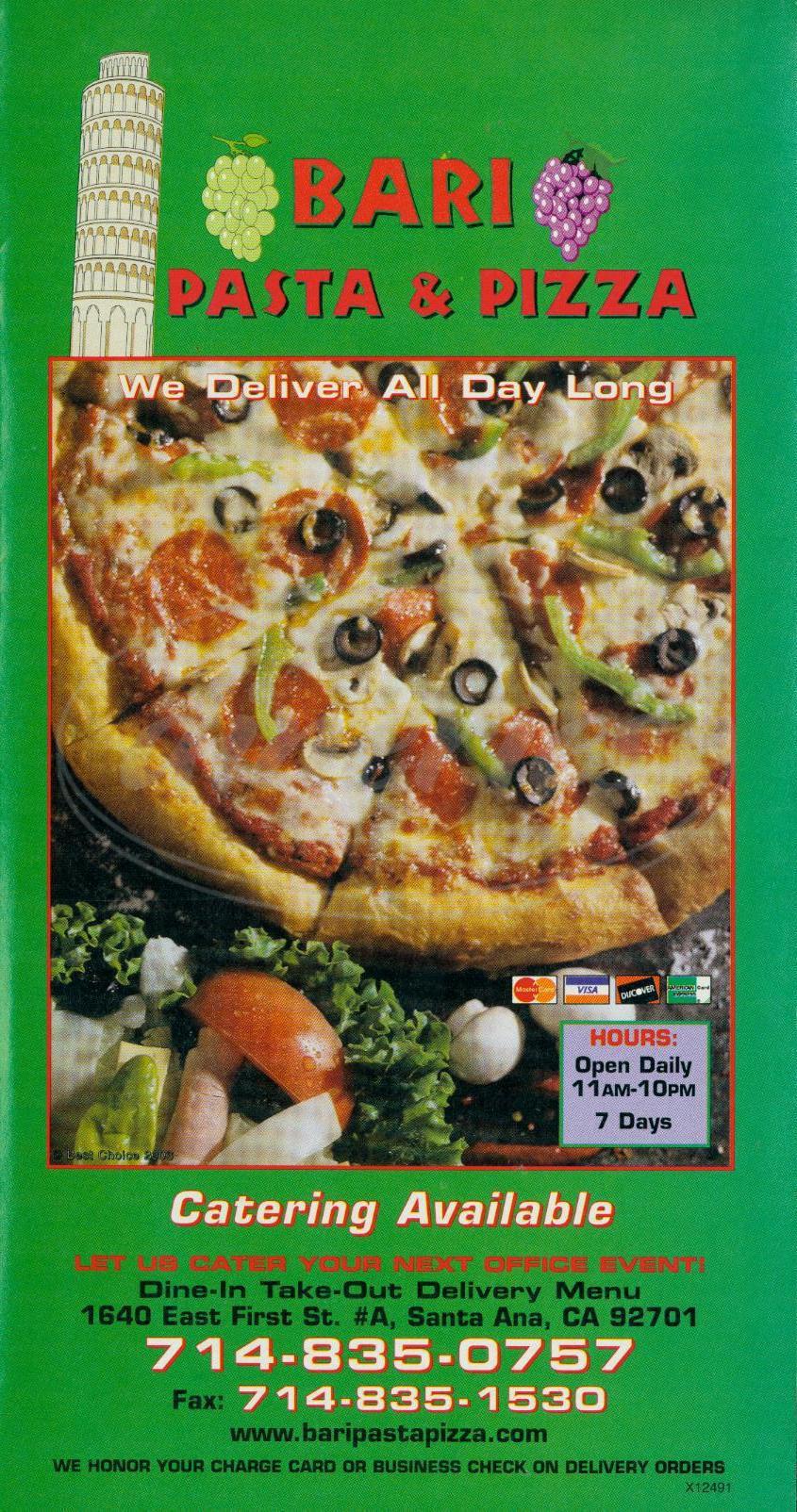 menu for Bari Pasta & Pizza