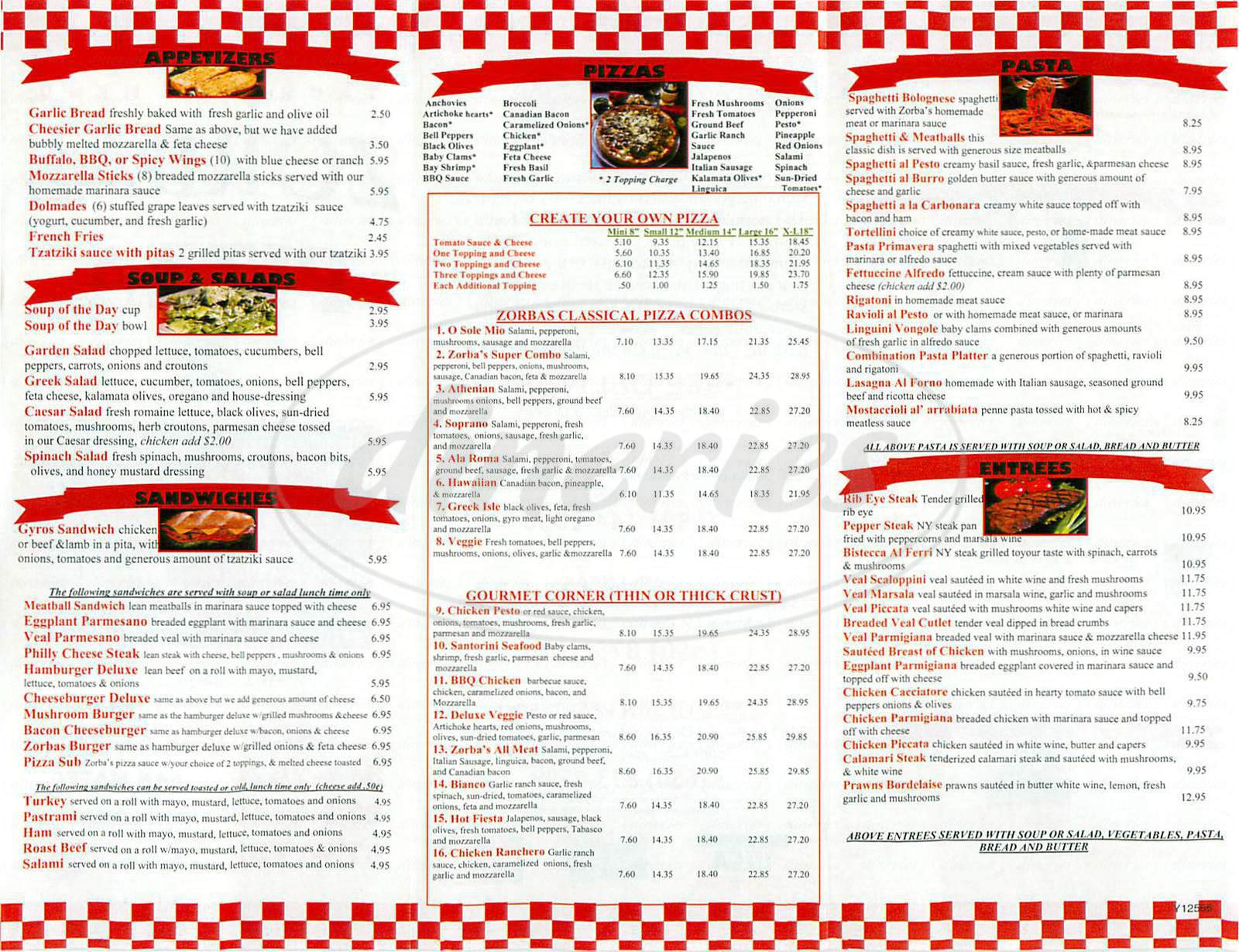 menu for Zorbas Pizza