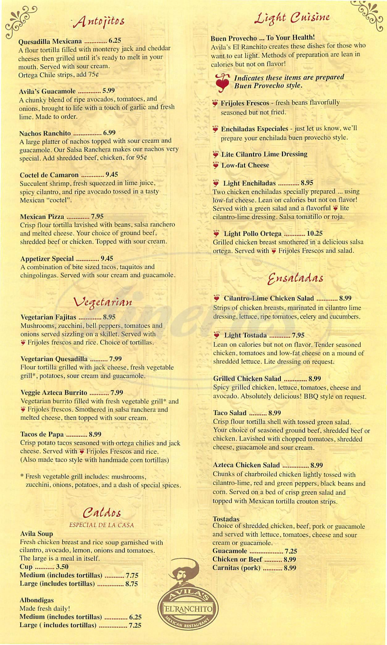 menu for Avilas El Ranchito