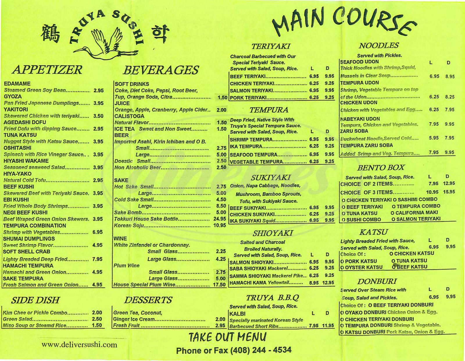 menu for Truya Sushi