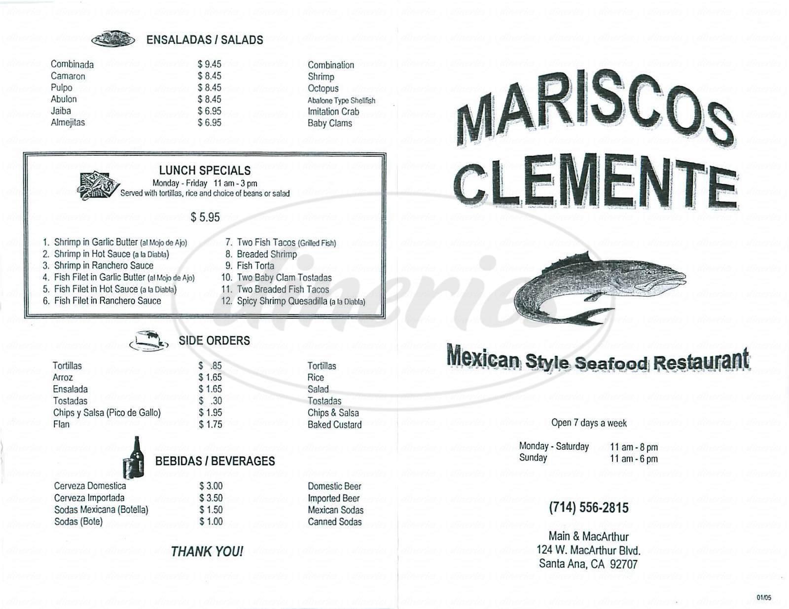 menu for Mariscos Clemente