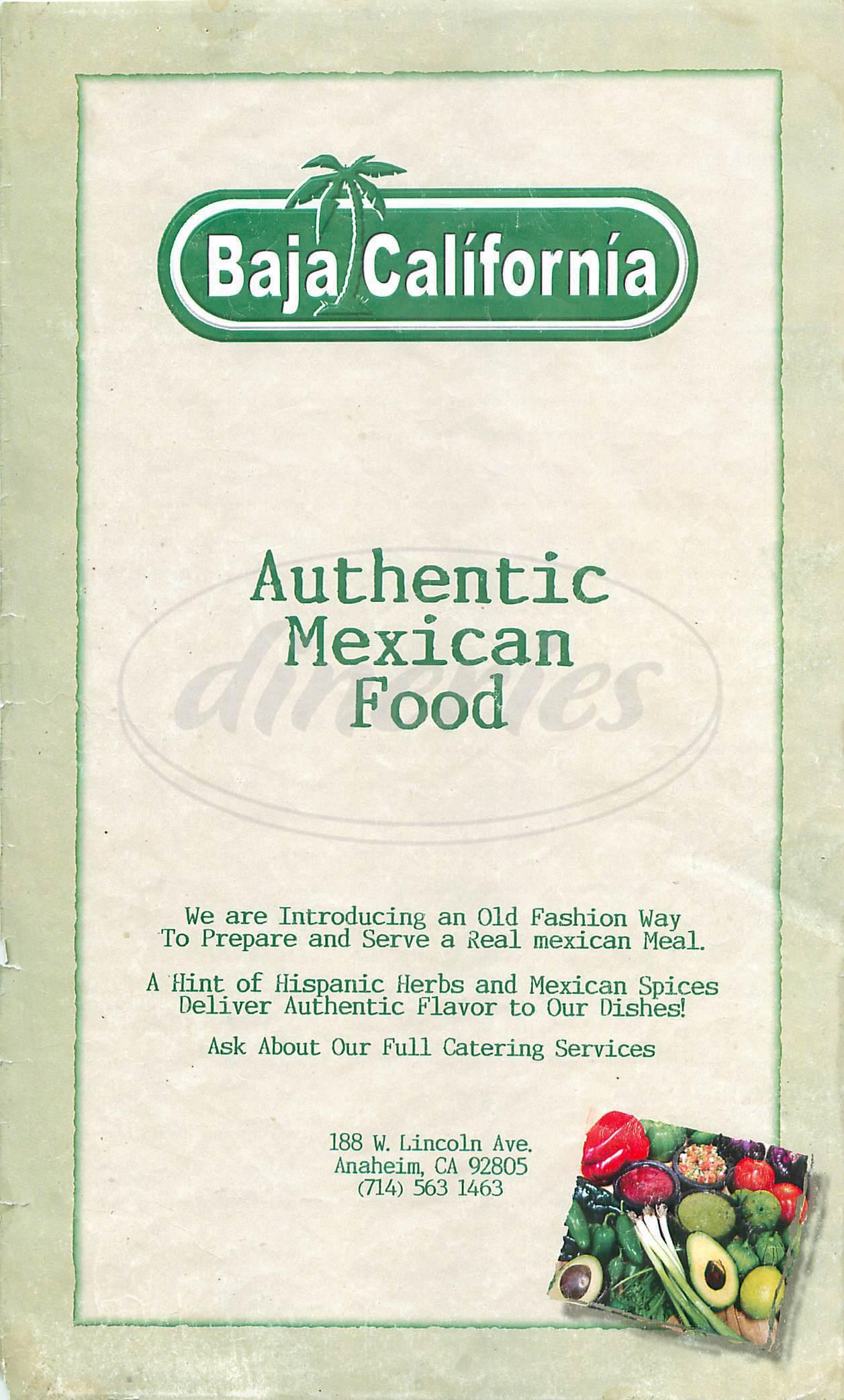 menu for Baja California