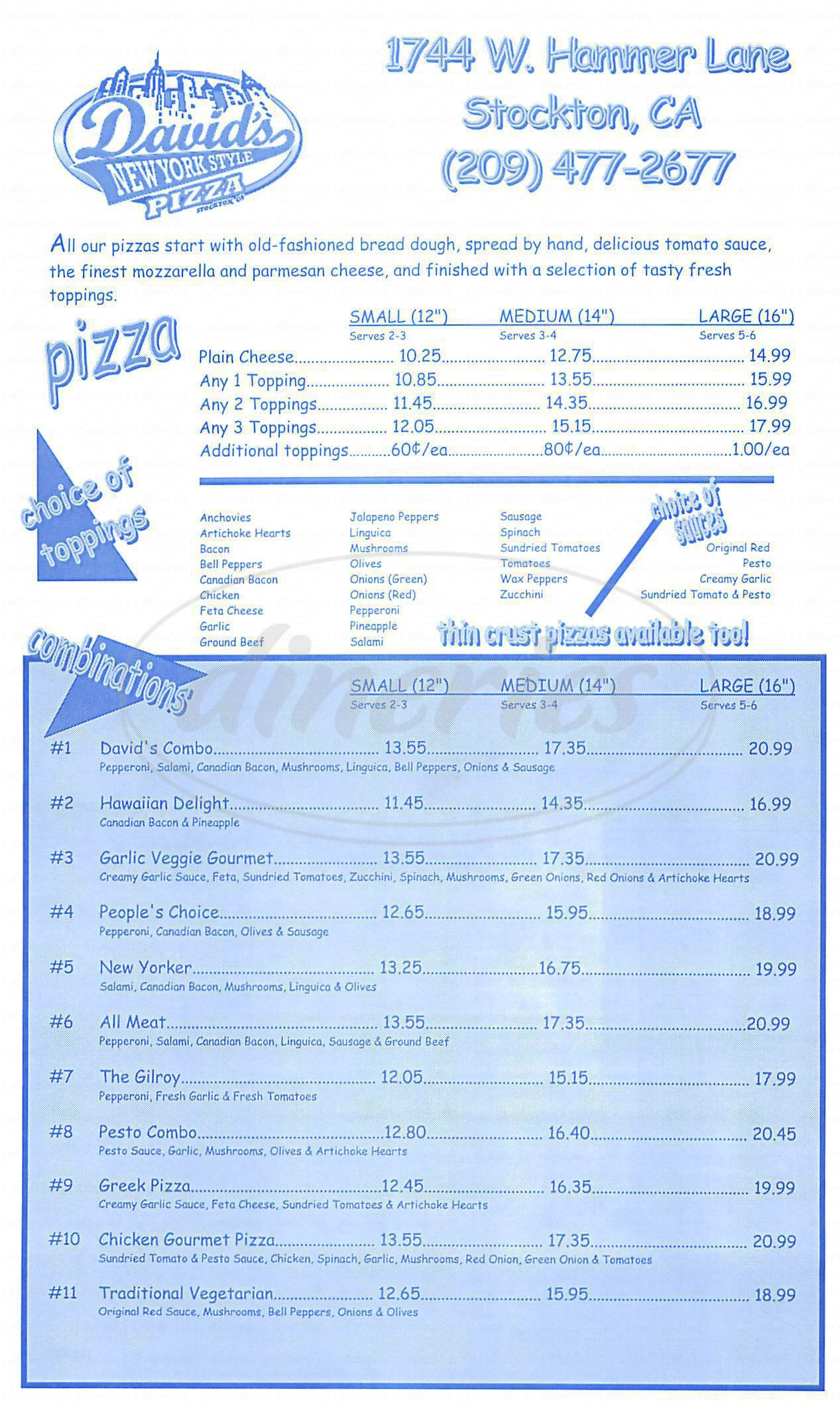 menu for Davids Pizza