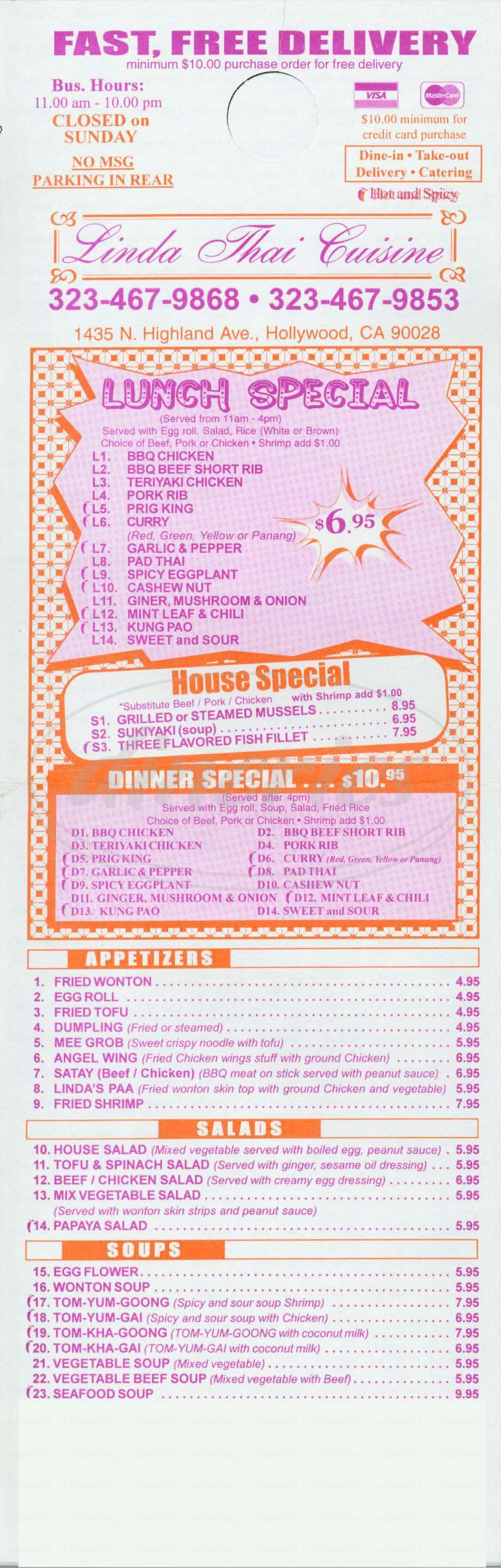 menu for Linda Thai Cuisine