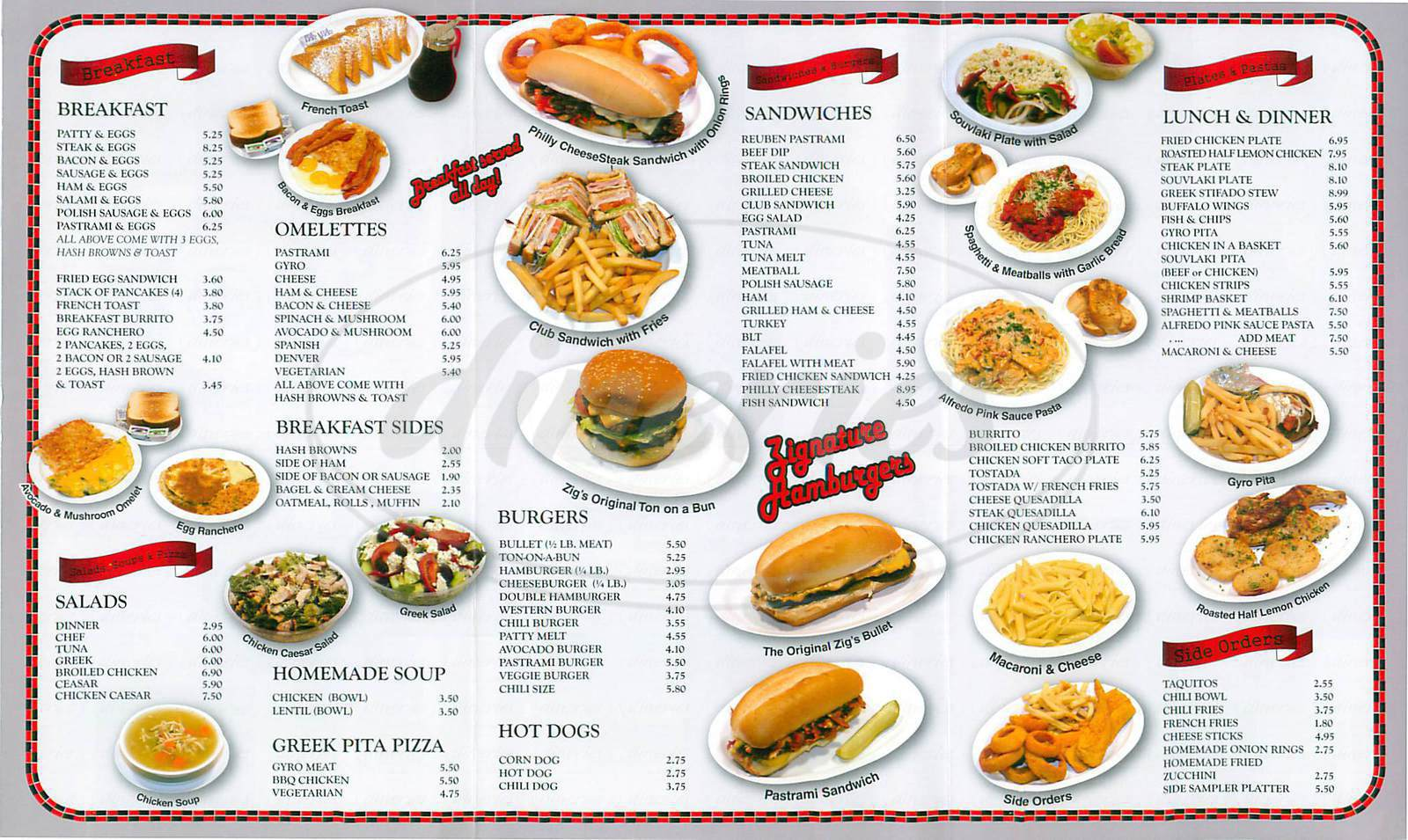 menu for Zigs Restaurant