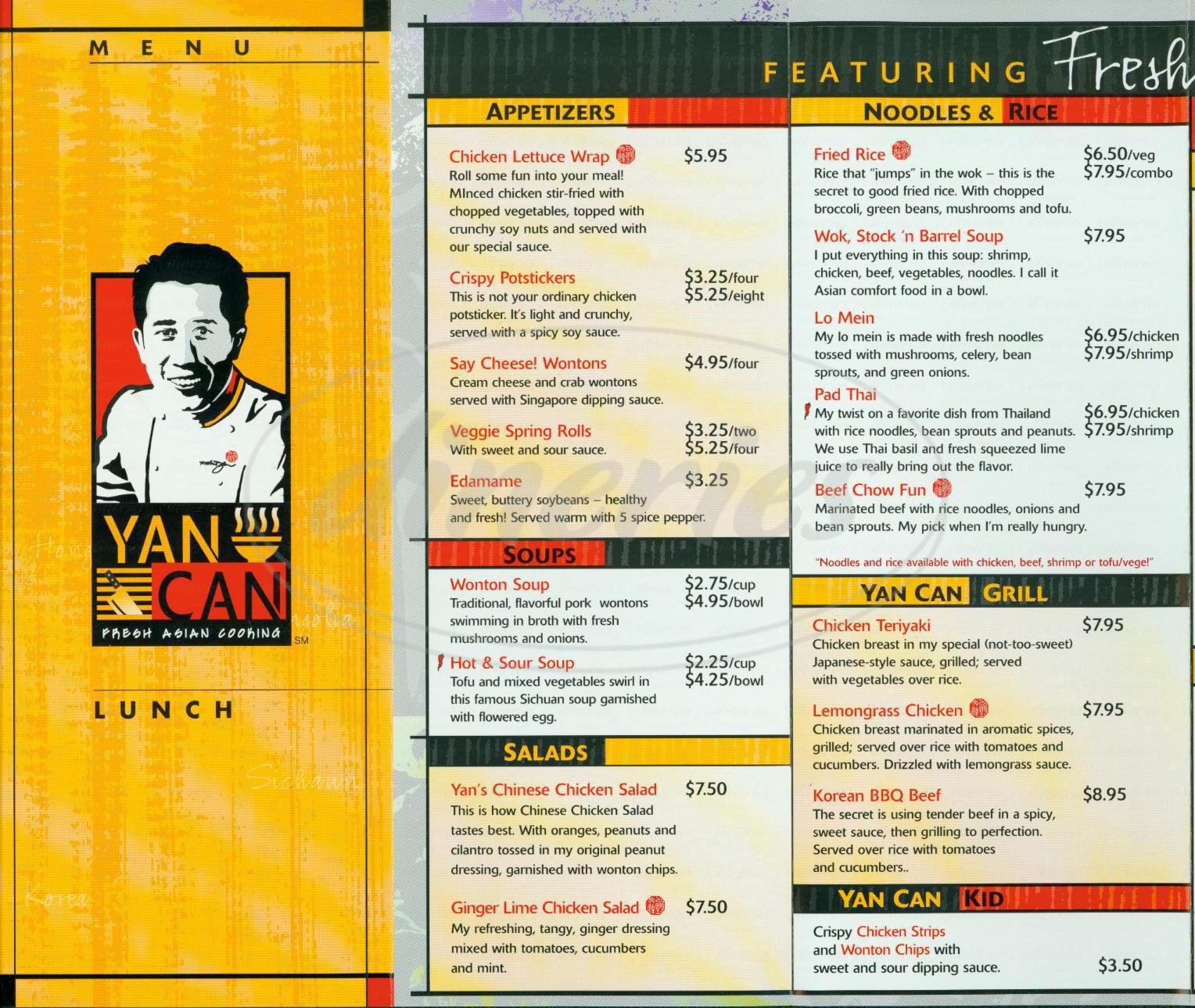 menu for Yan Can