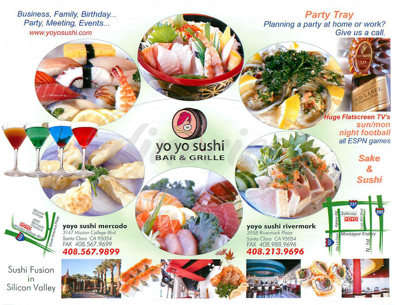 menu for Yo Yo Sushi