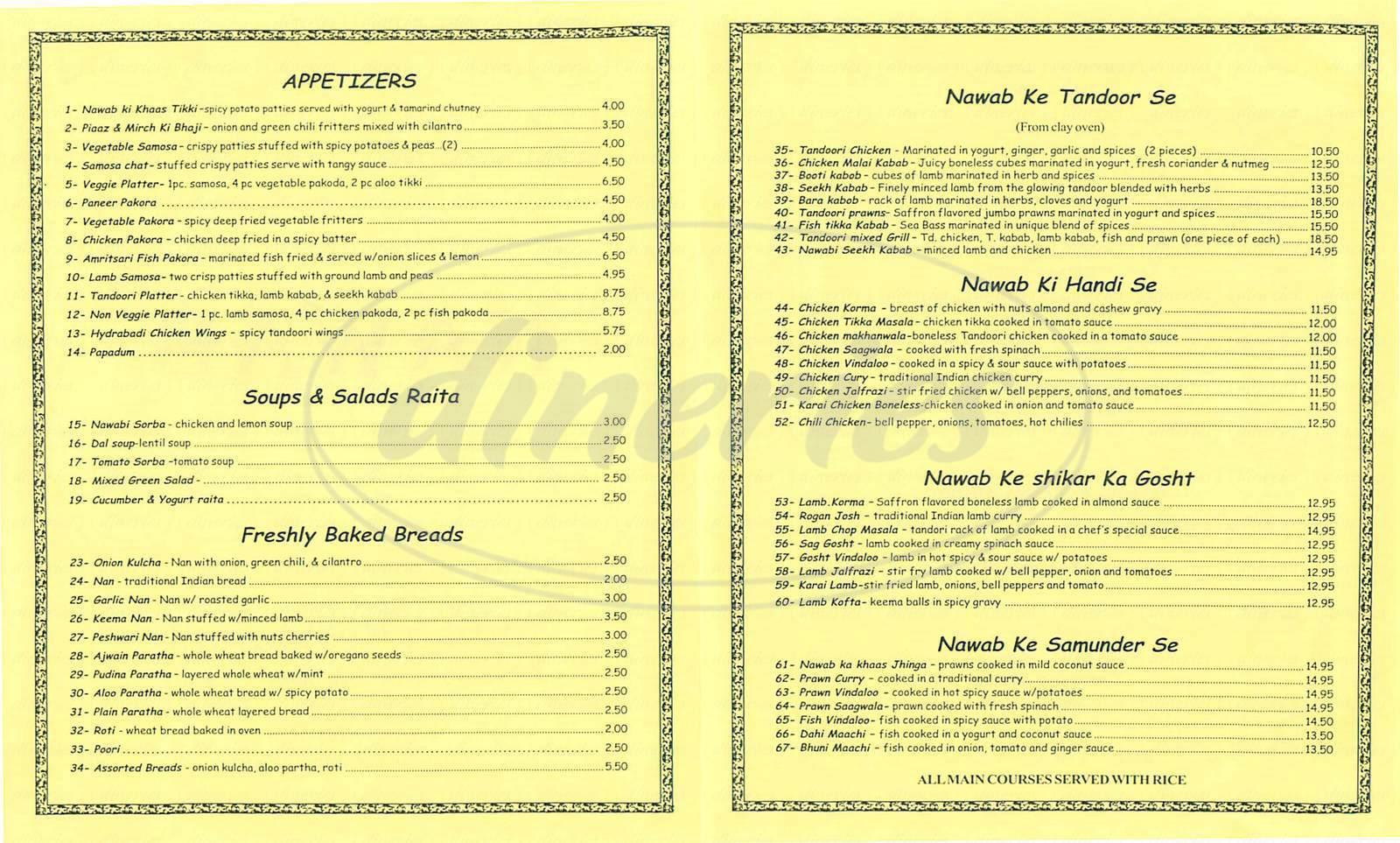 menu for Nawab