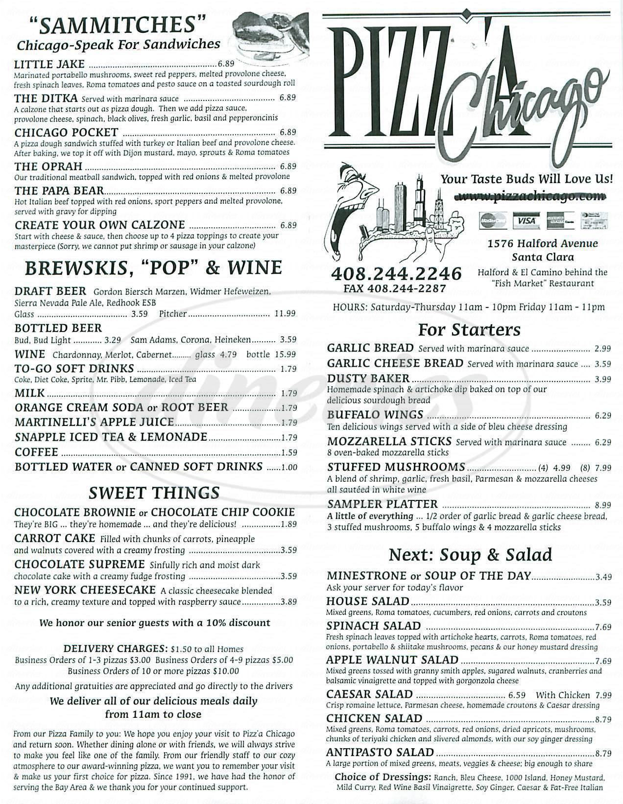menu for Pizza Chicago