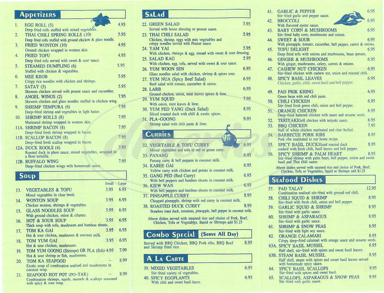 menu for Thai Chili House