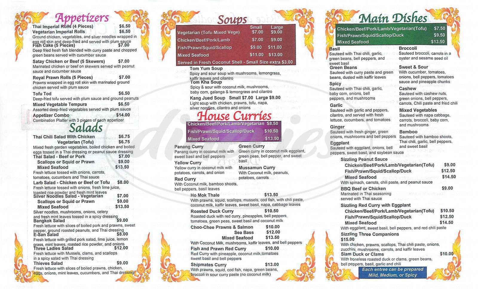 menu for Thai Chili Cuisine