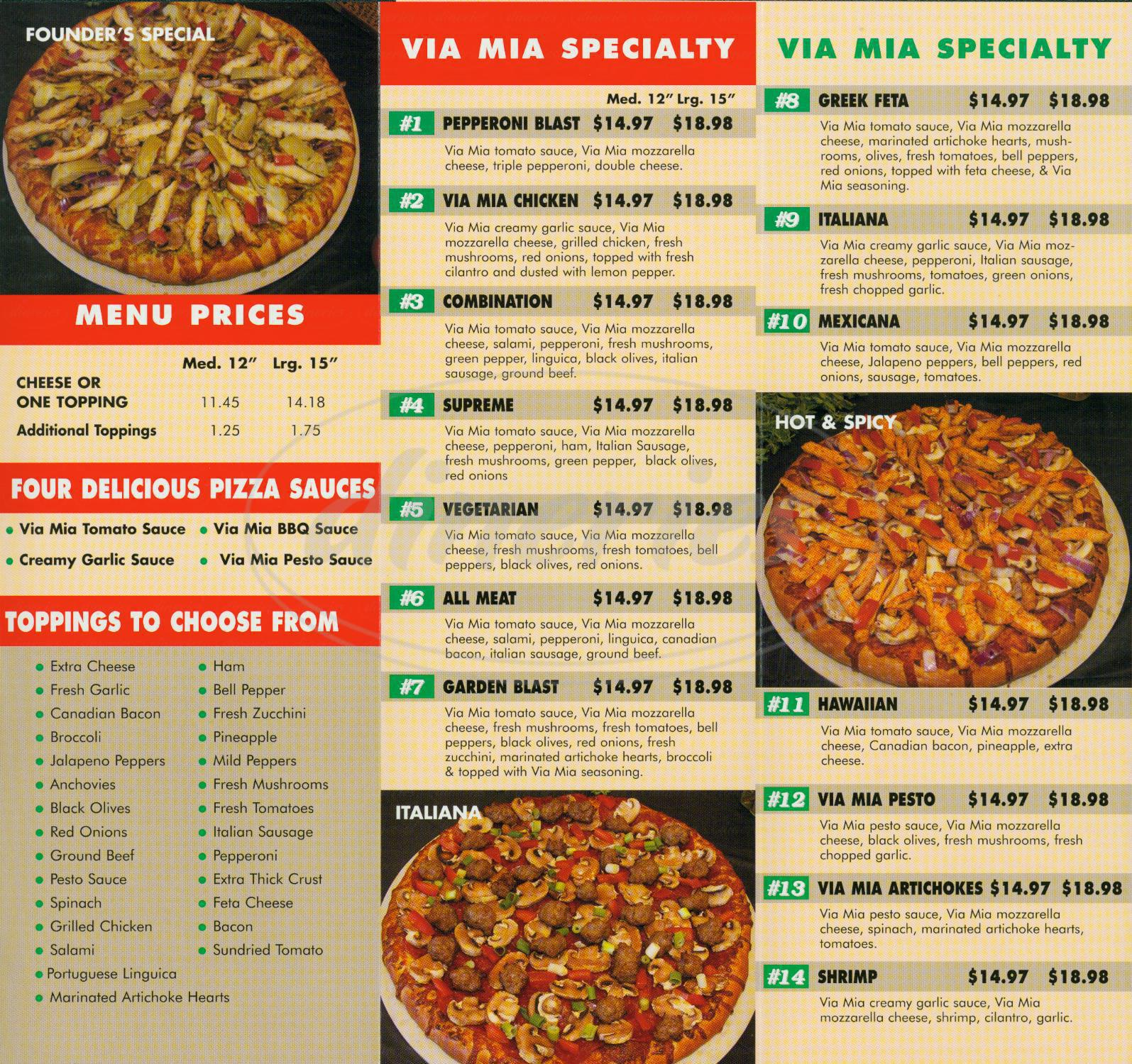 menu for Via Mia Pizza