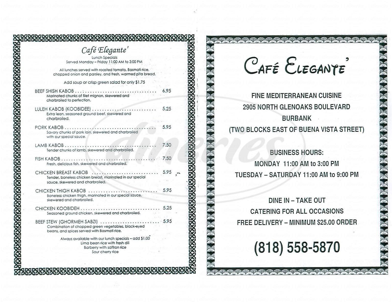 menu for Café Elegante