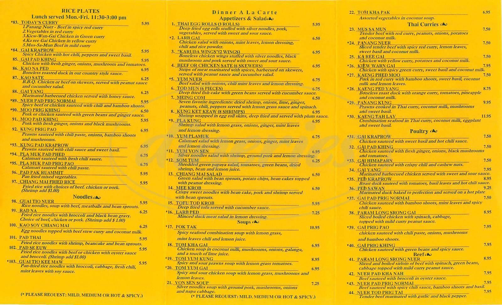 menu for Chiang Mai Thai Cuisine