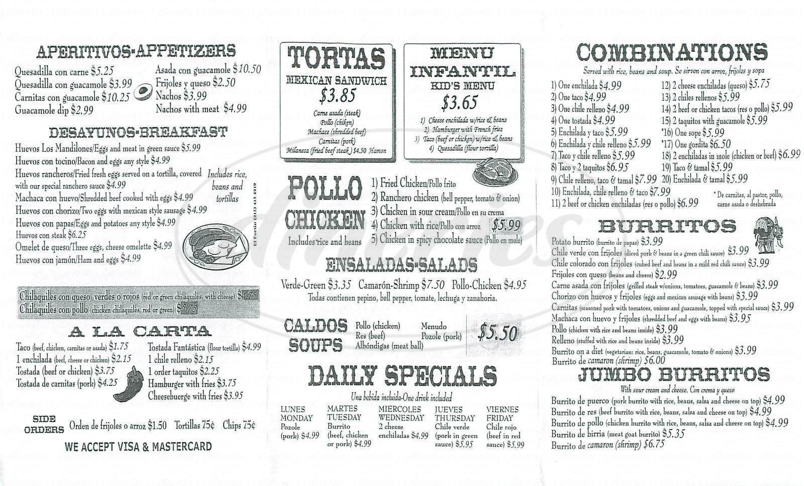 menu for Don Diego's