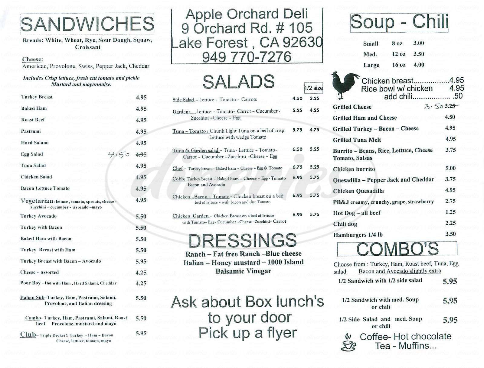 menu for Apple Orchard Deli