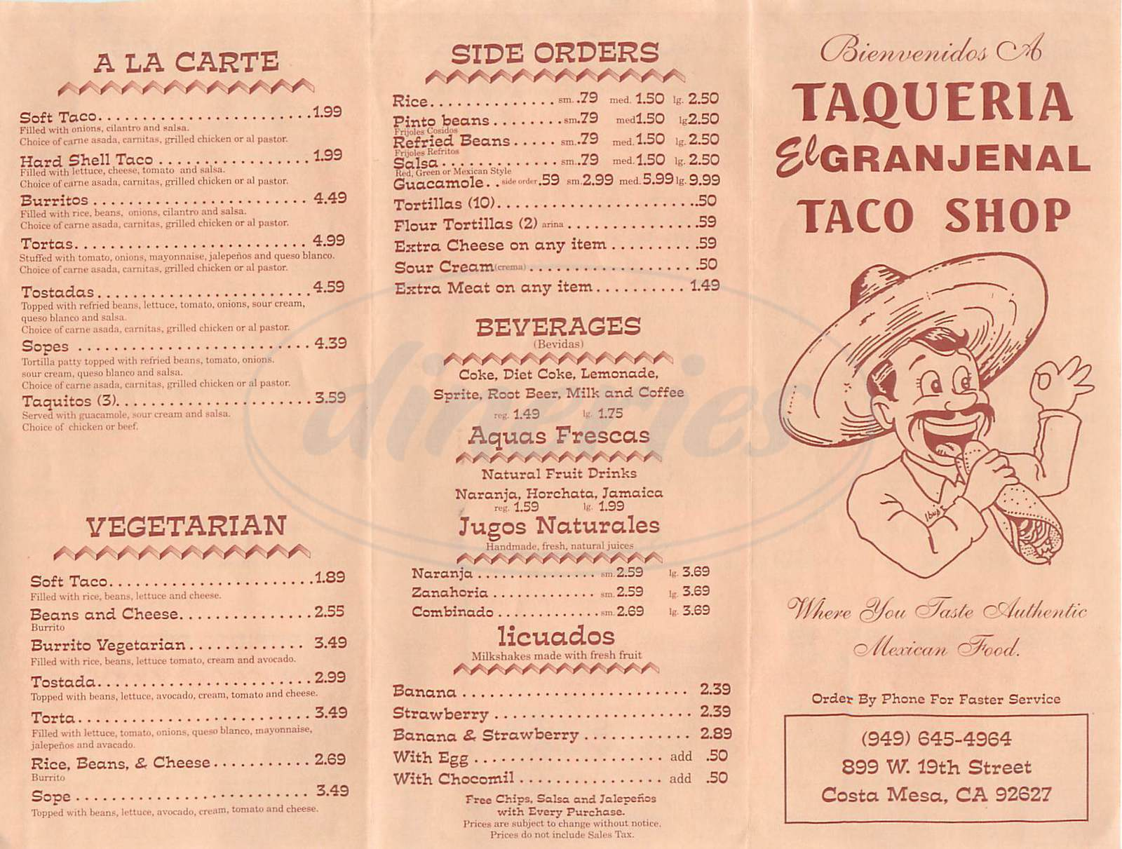 menu for Taqueria el Granjenal