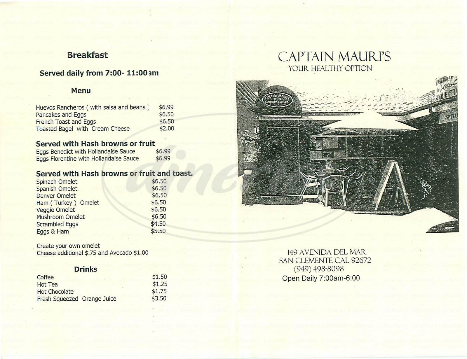 menu for Captain Mauri's