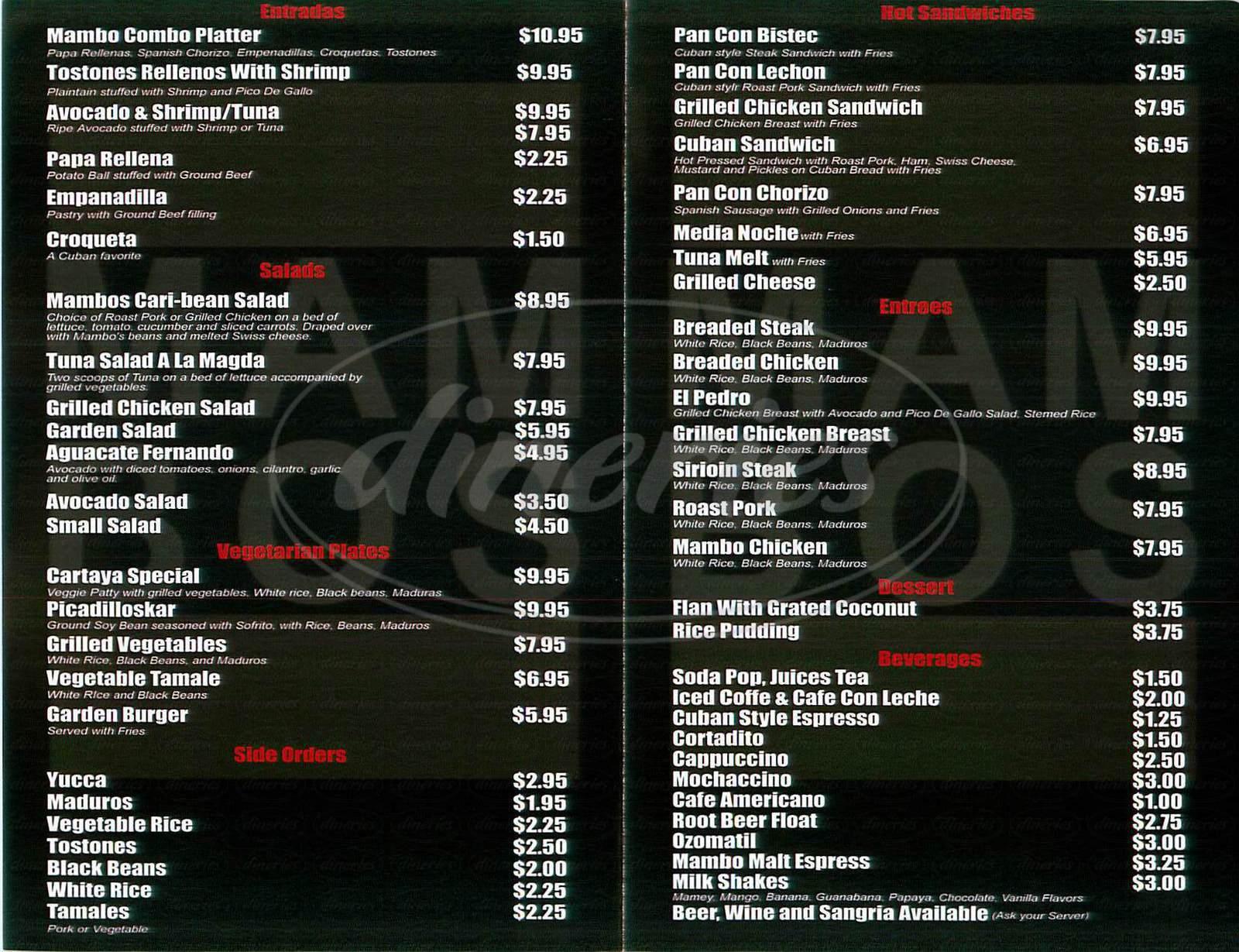 menu for Mambos Café