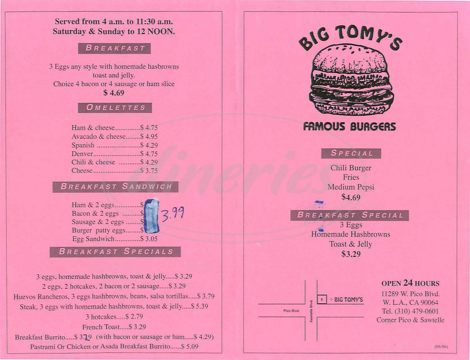 menu for Big Tomys