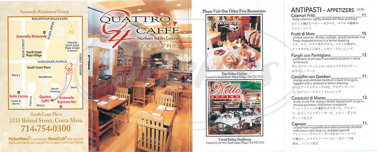 menu for Quattro Caffe