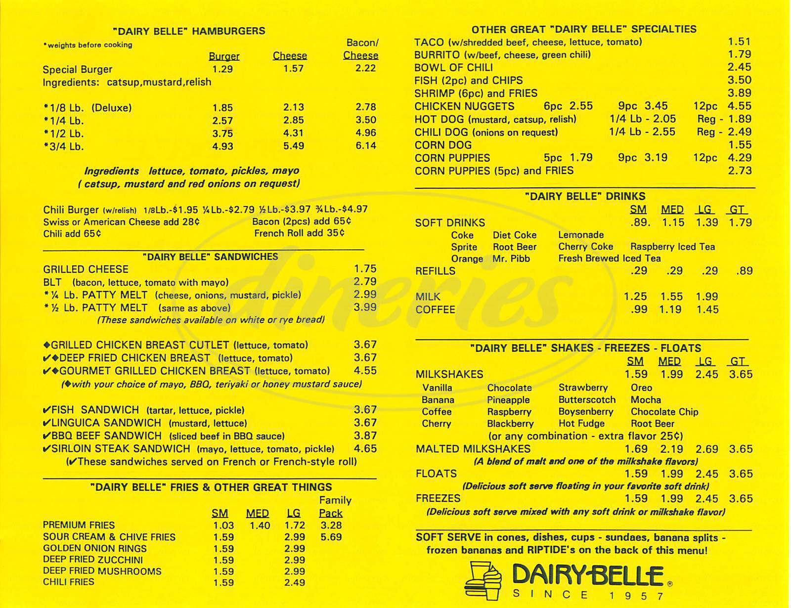 menu for Dairy Belle