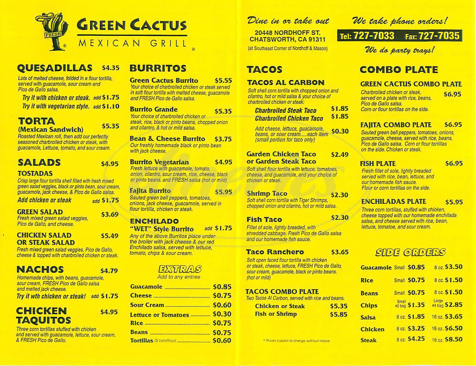 menu for Green Cactus