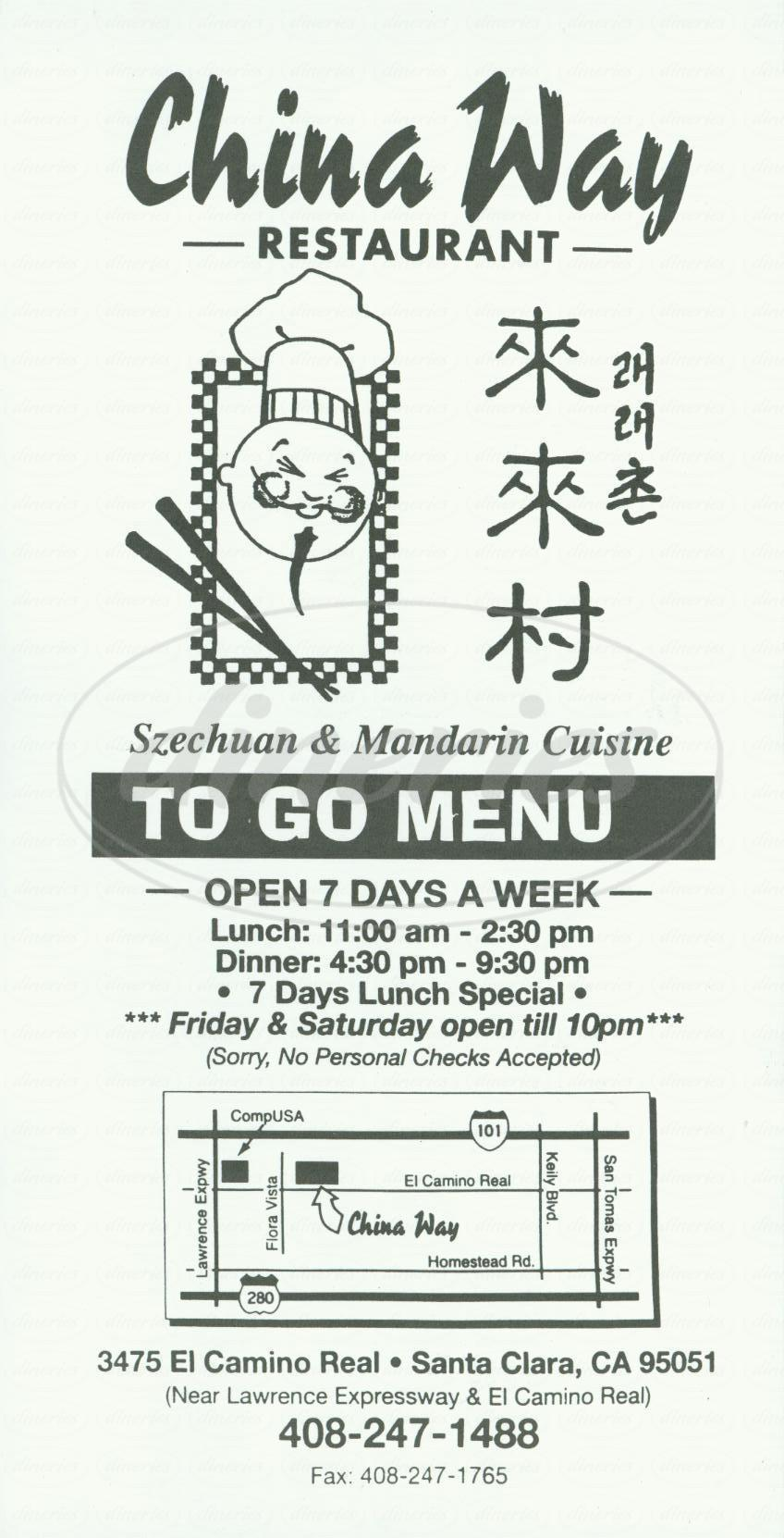 menu for China Way Restaurant