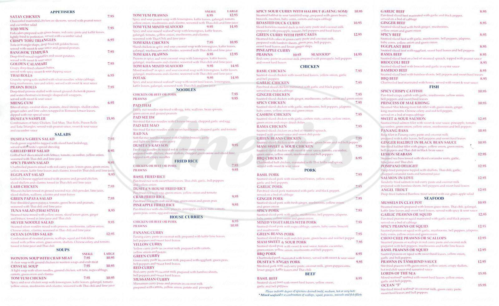 menu for Dusita Thai Cuisine