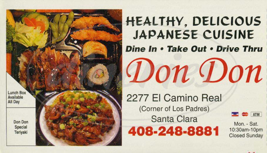 menu for Don Don