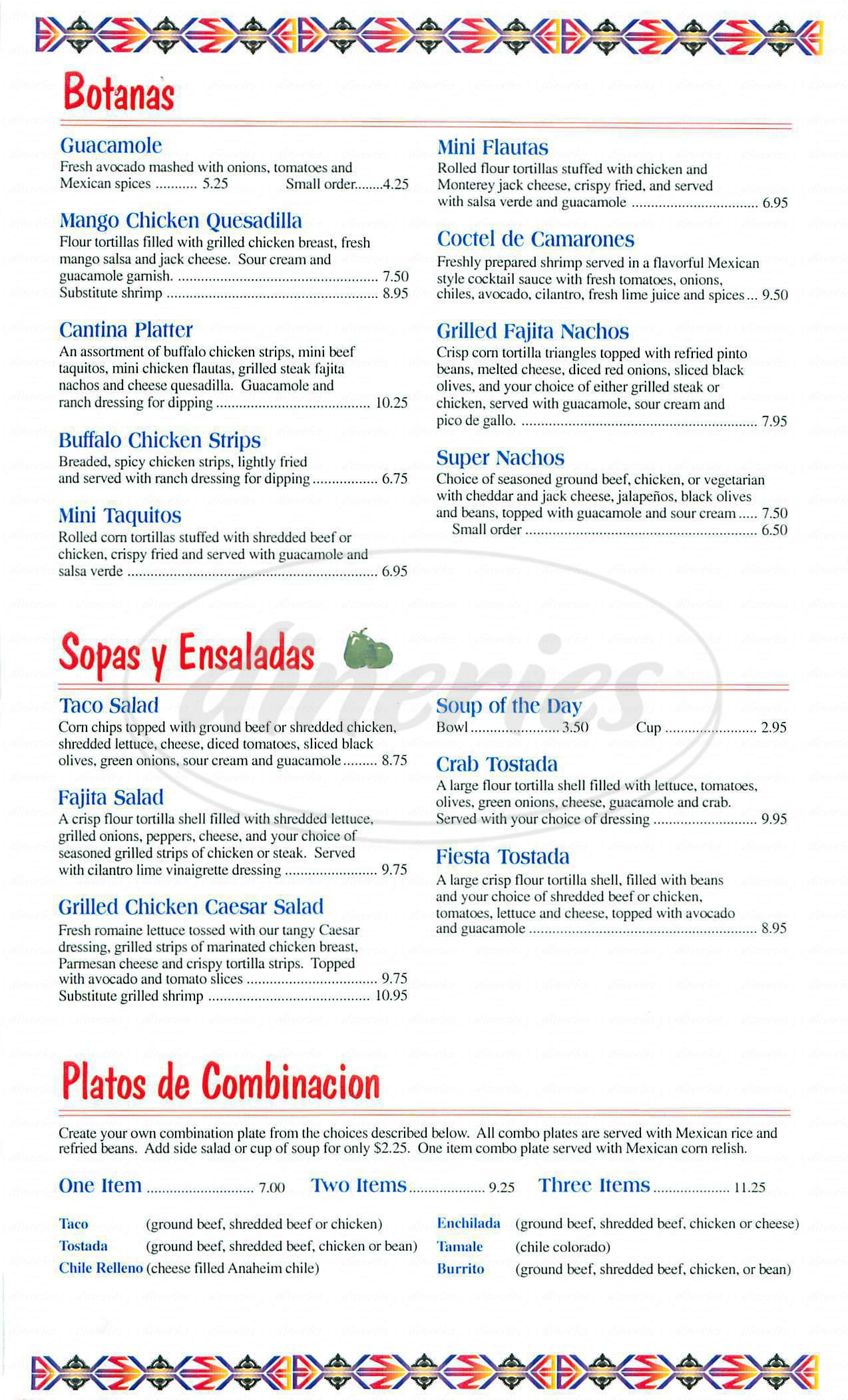 menu for La Paloma