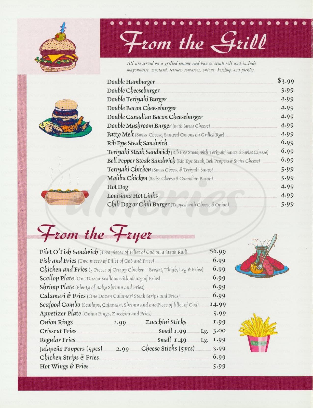 menu for Last Chance Restaurant