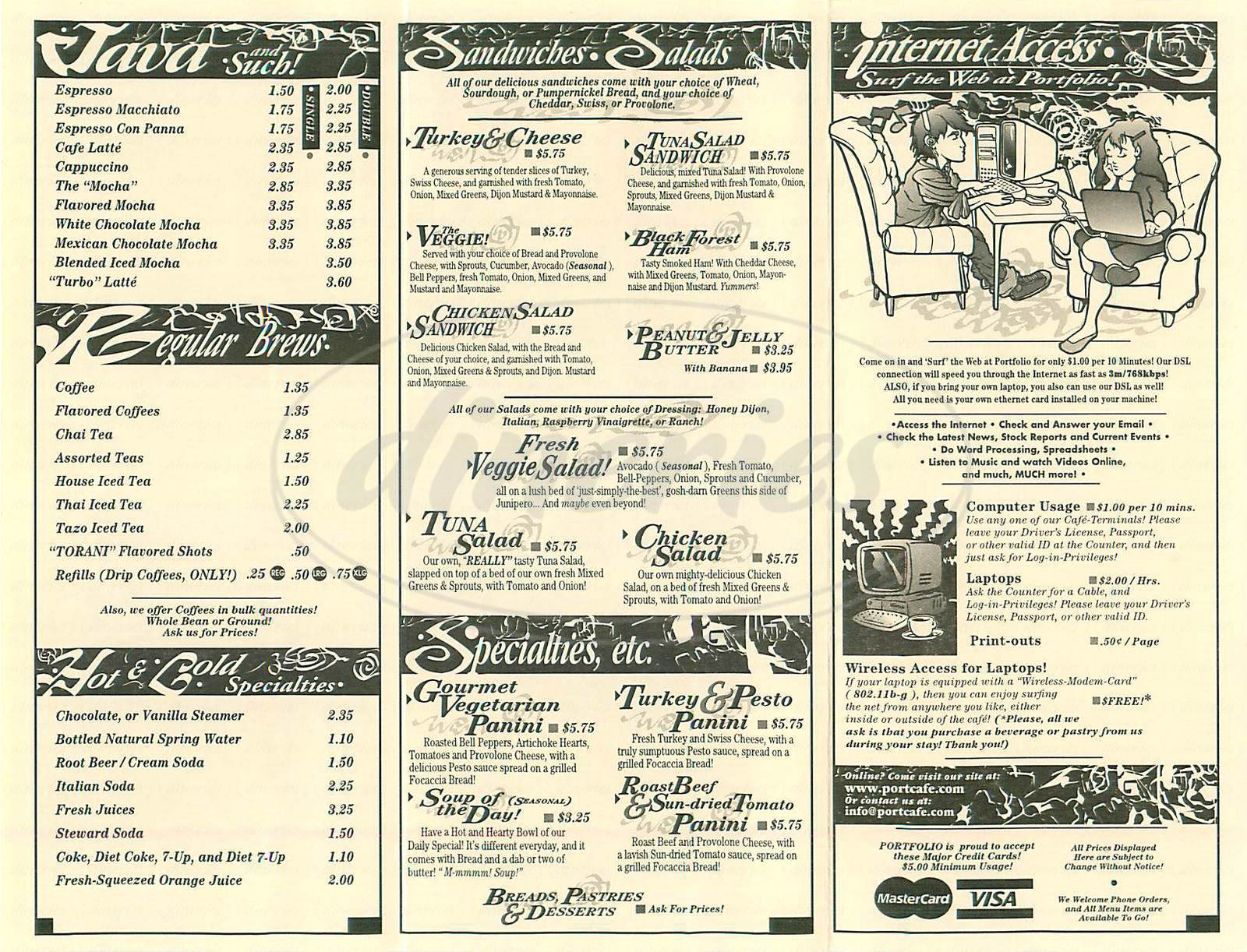 menu for Portfolio Coffee House
