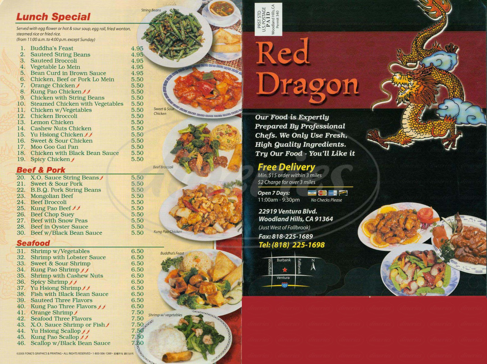 menu for Red Dragon Restaurant