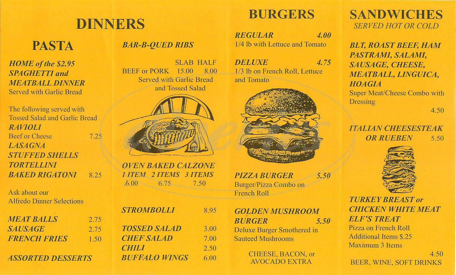 menu for Golden Mushroom Pizzeria