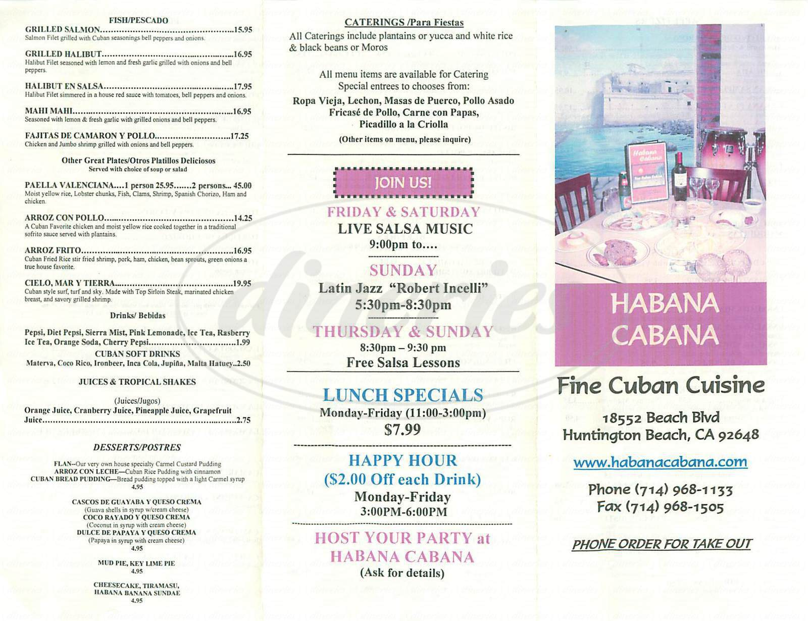 menu for Habana Cabana