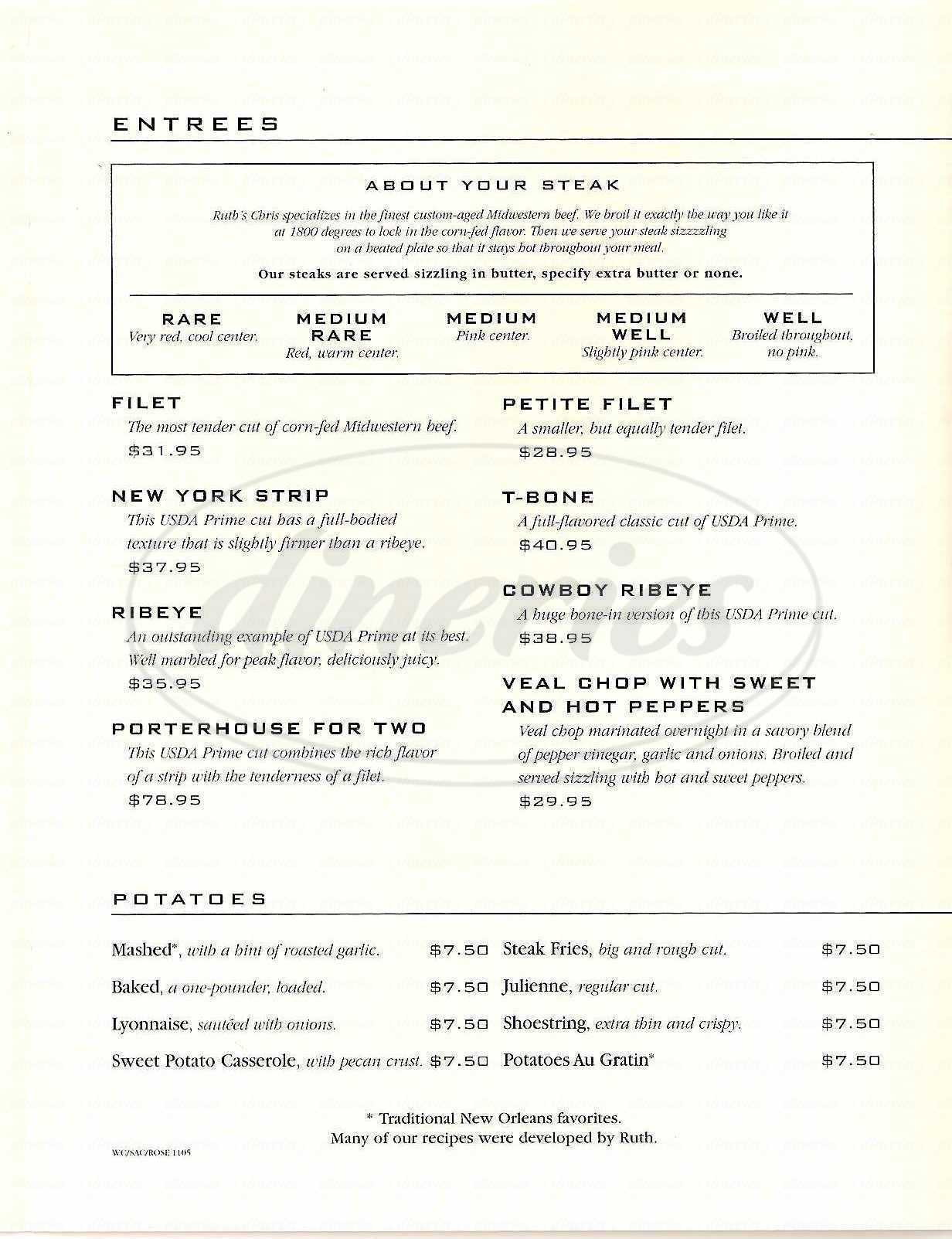 menu for Ruth's Chris Steak House