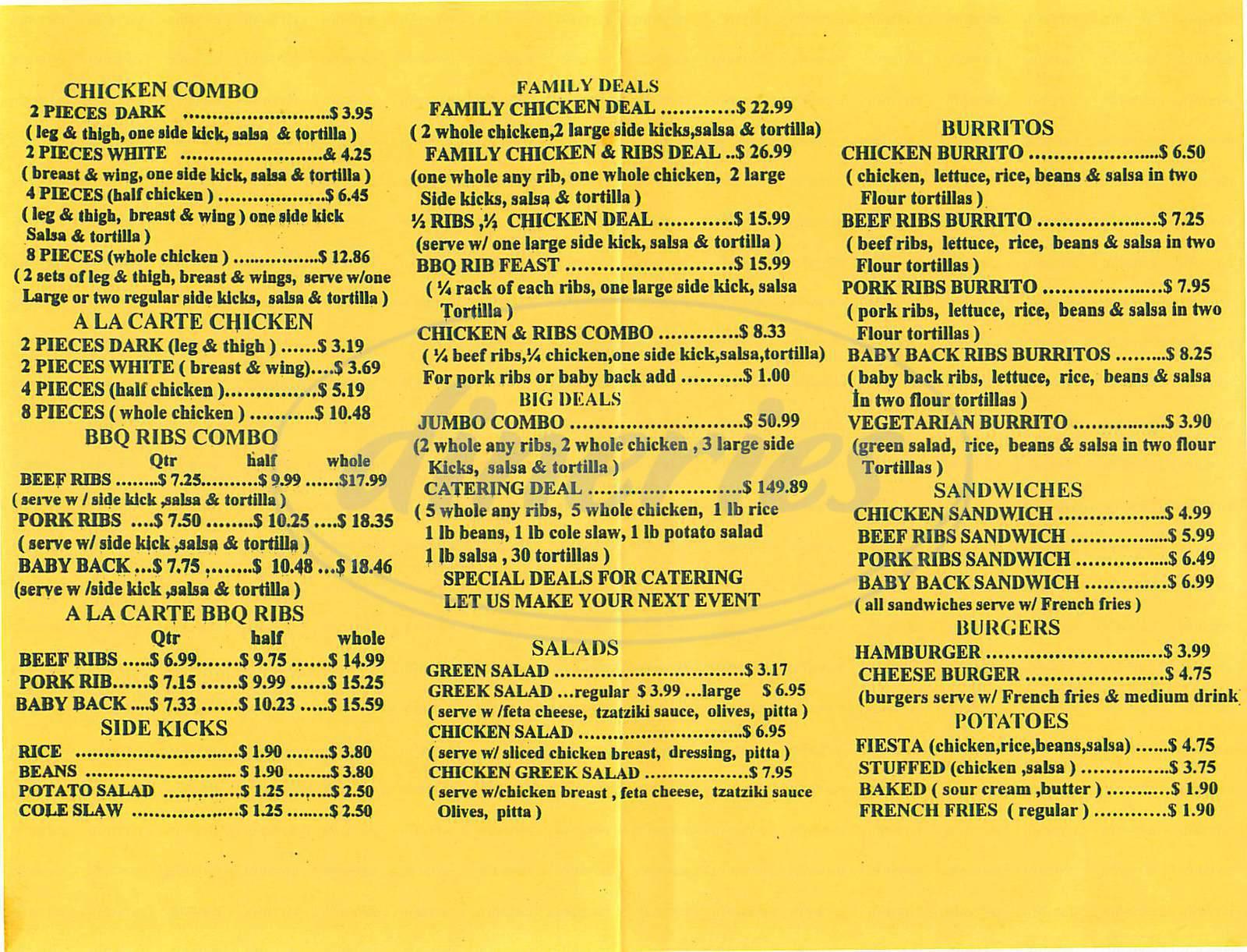 menu for Flaming Chicken & Ribs