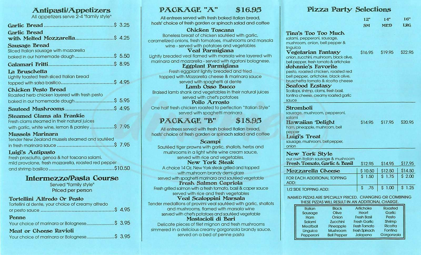 menu for Frankie Johnnie & Luigi Too