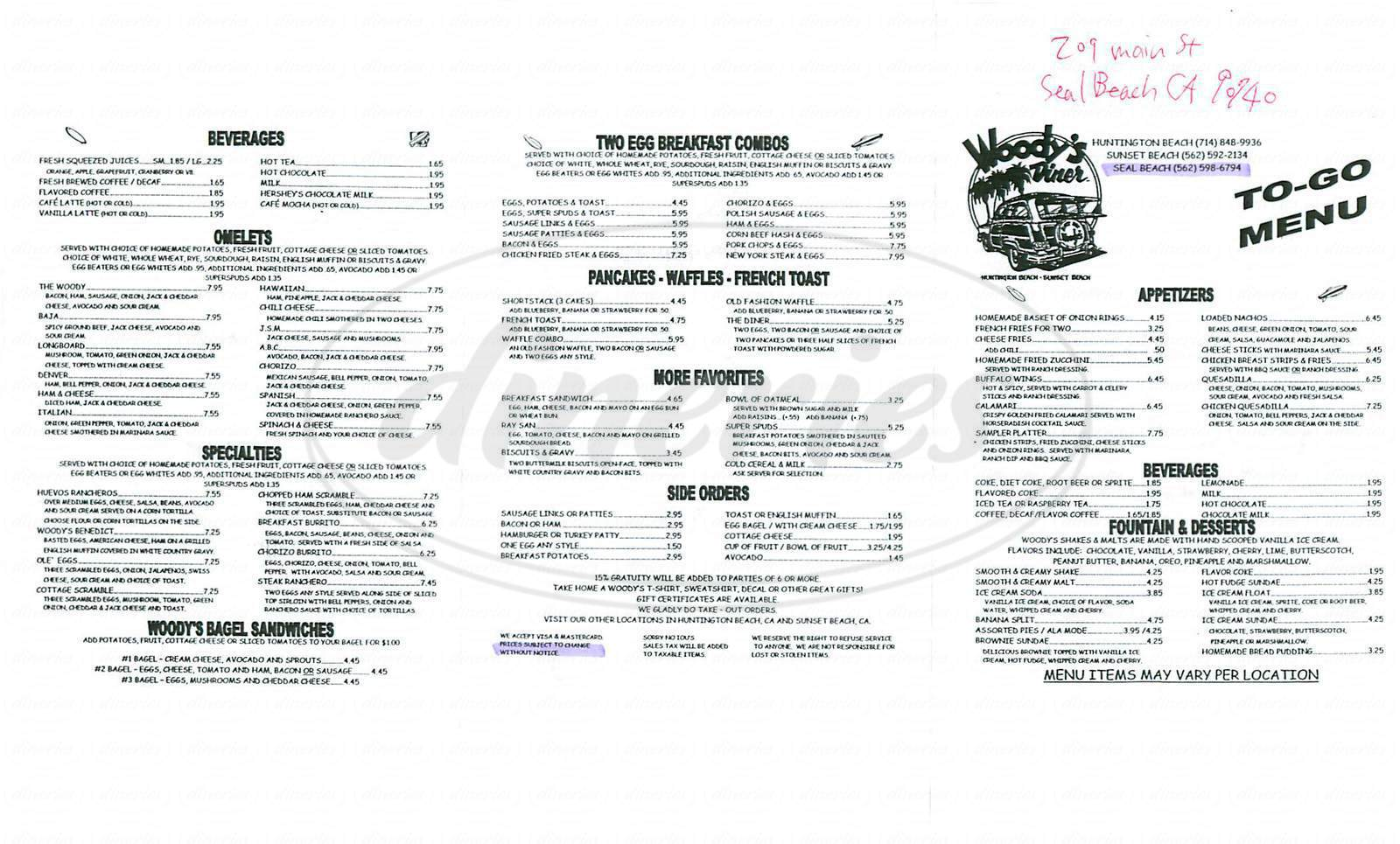 menu for Woodys Diner