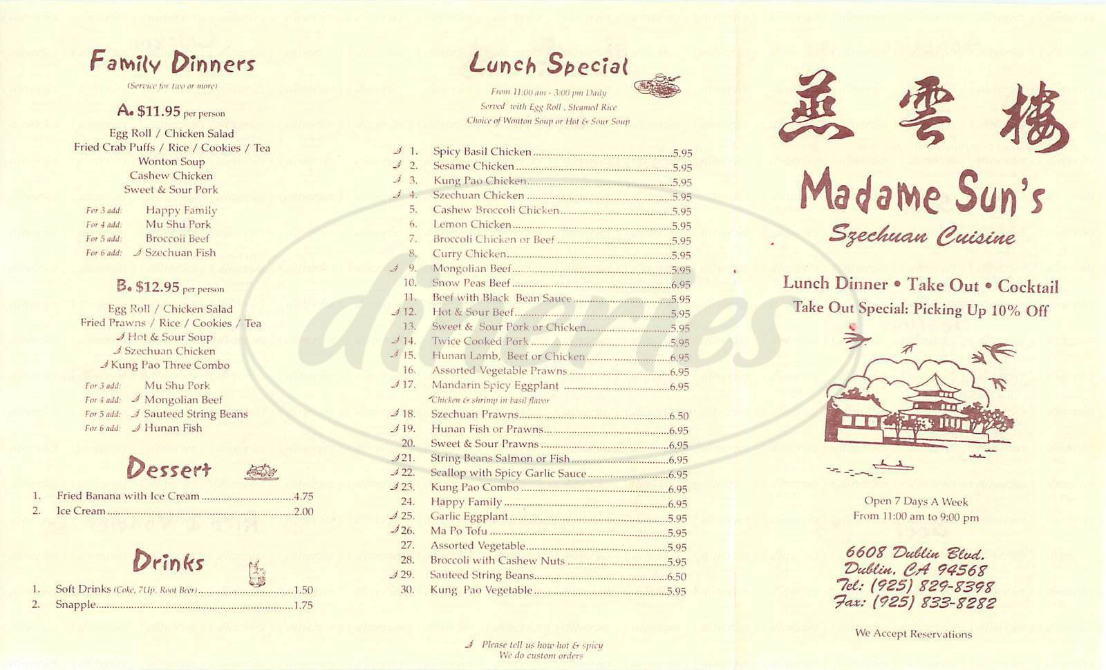 menu for Madame Sun's
