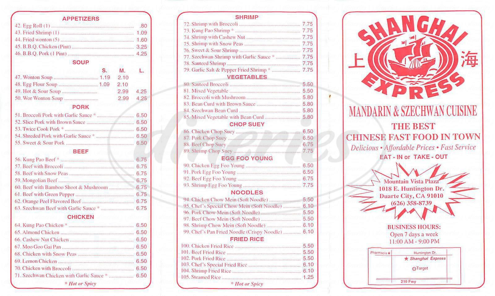 menu for Shangai Express