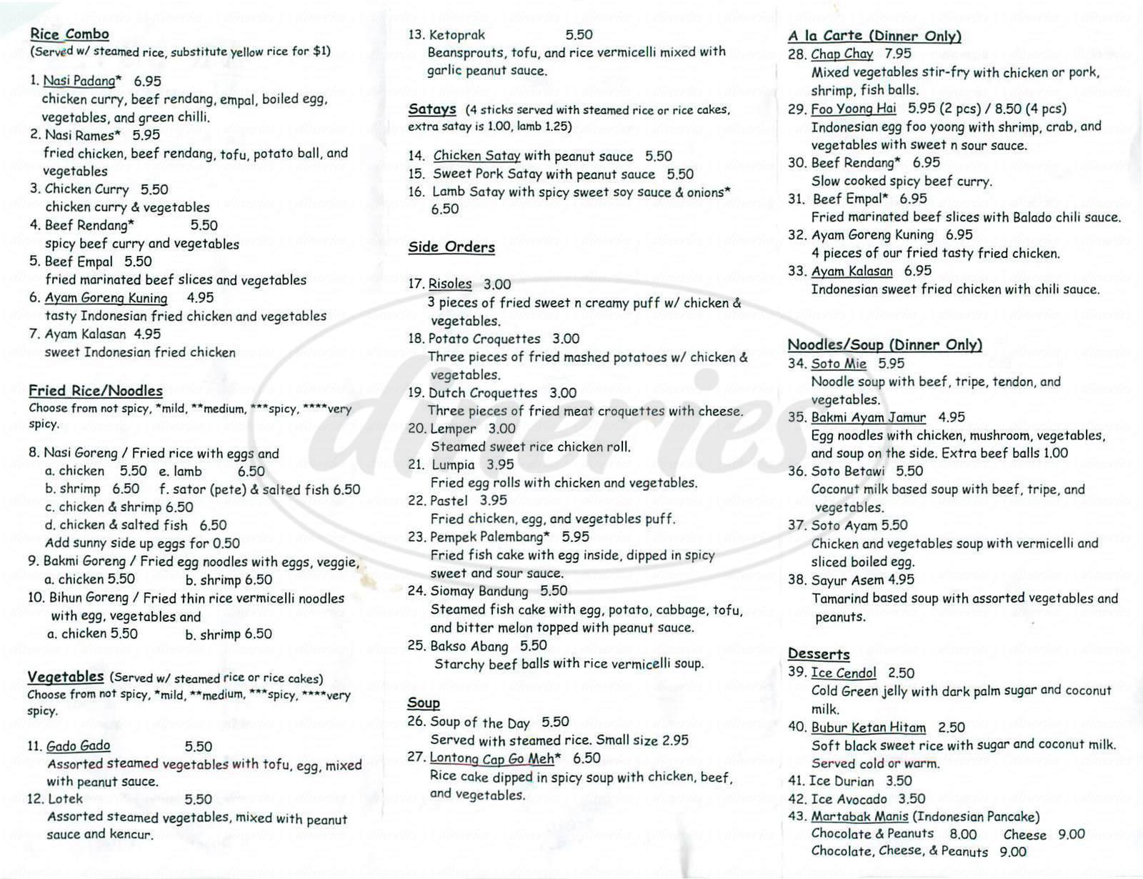 menu for Paradiso Restaurants