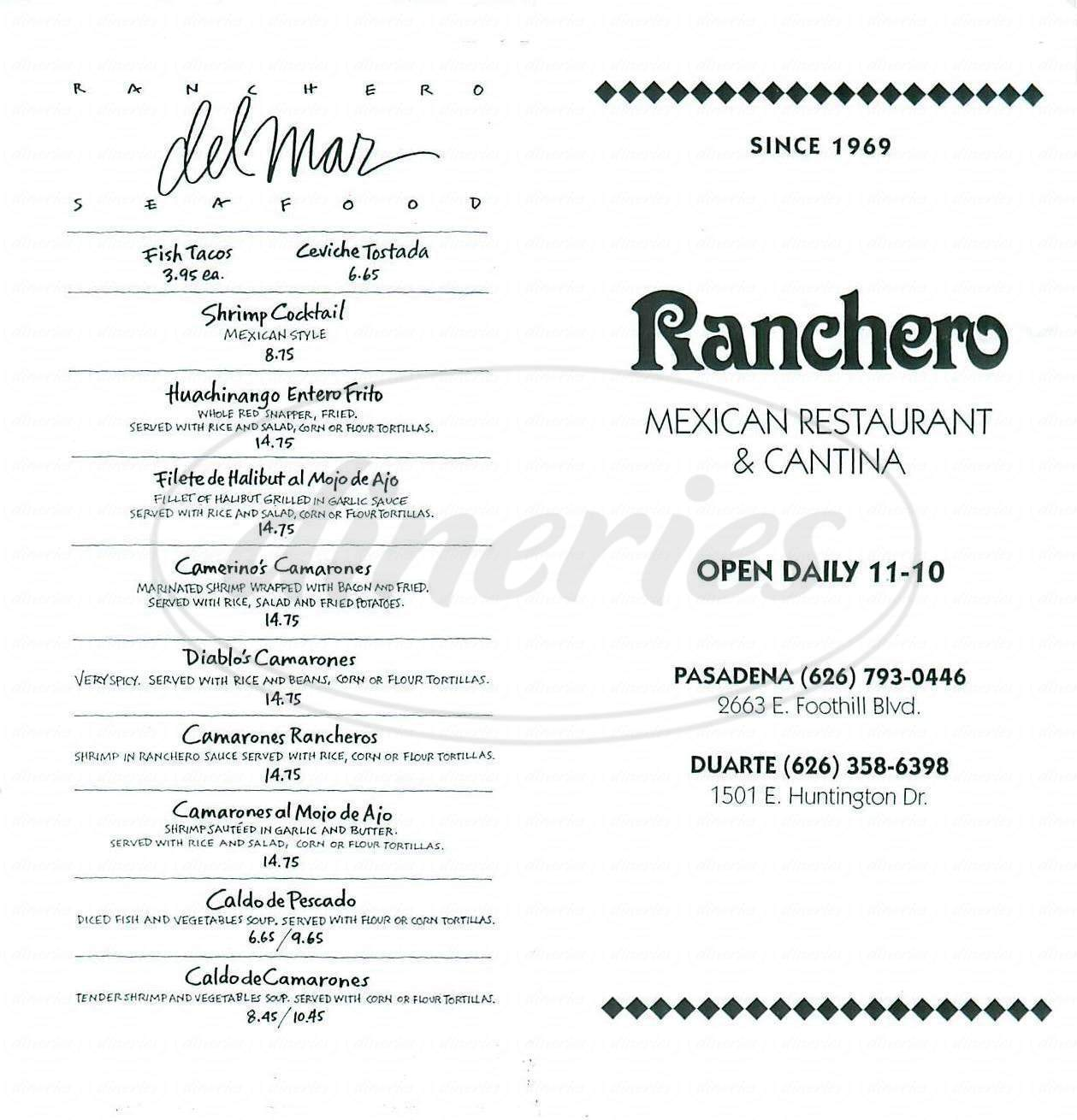 menu for Ranchero Mexican Restaurant
