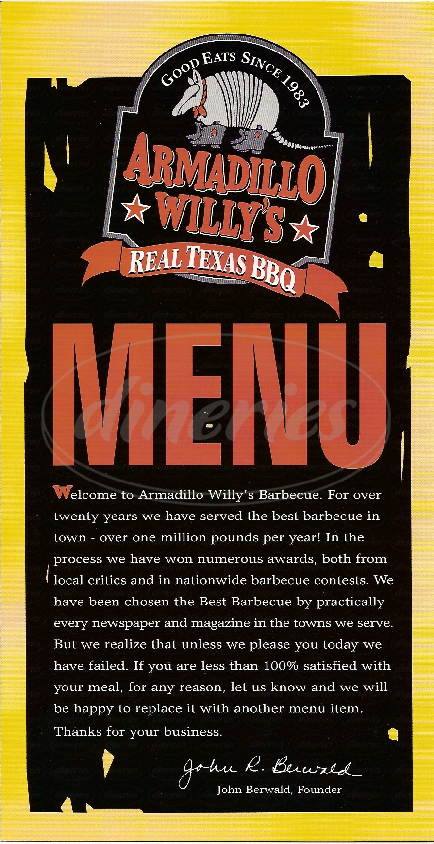 menu for Armadillo Willys