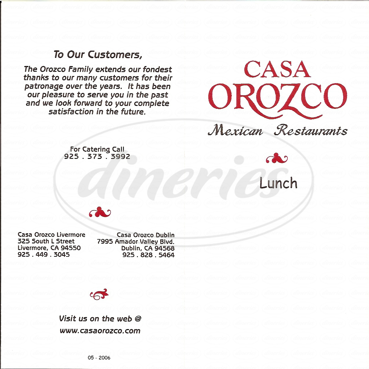 menu for Casa Orozco