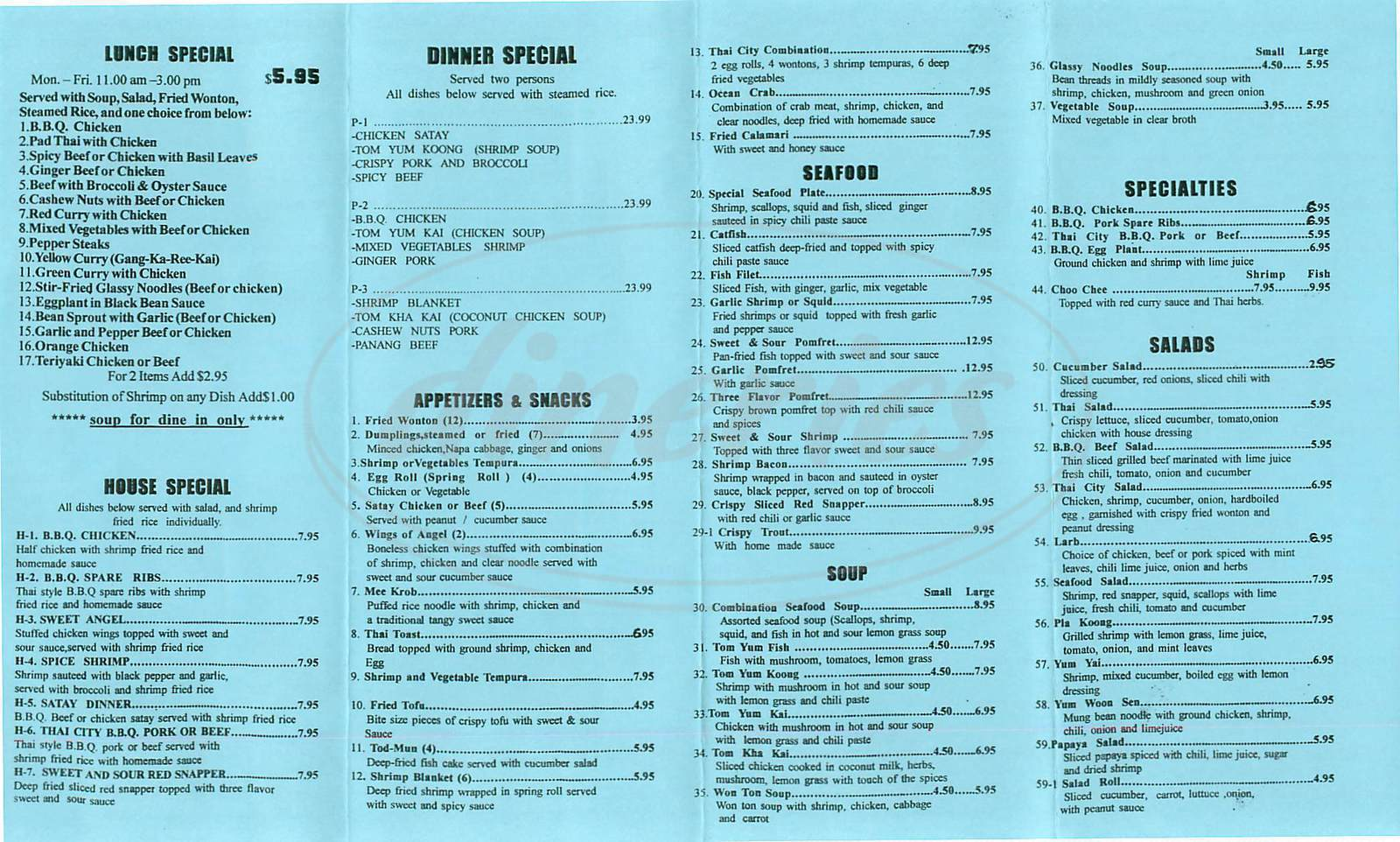menu for Thai City Restaurant